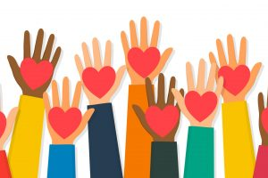 charity-volunteering-and-donating-concept-raised-up-human-hands-with-vector-id1188864563